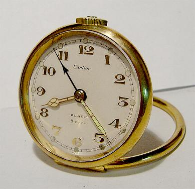 Cartier Brass 8 Day Alarm Desk Clock Stock# 804c